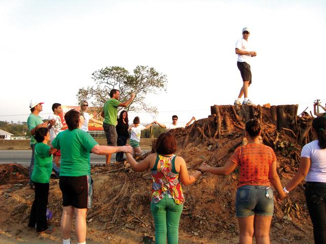 Apreciadores das árvores da Dutra fazem uma oração depois do corte
