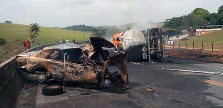 BR-101/ES ficou interditada por 10 h após acidente com caminhão tanque que deixou 3 mortos