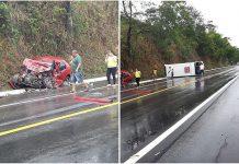 Grave acidente entre micro-ônibus e carro de passeio deixa morto e feridos na BR-104